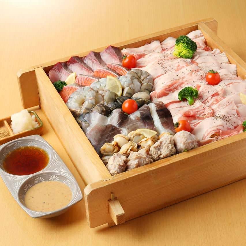 【5月限定】鮮魚刺身と旬の野菜・海鮮三種の蒸篭蒸し付の「欲張り蒸篭蒸しコース」全8品 料理のみ3500円