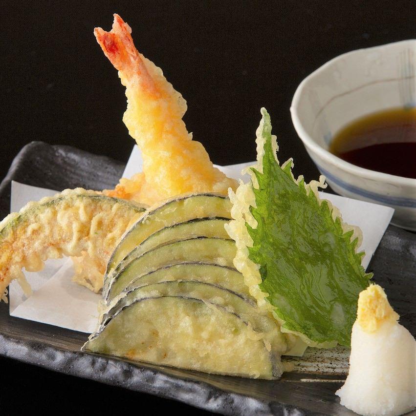 大海老と夏野菜の天婦羅盛り三種