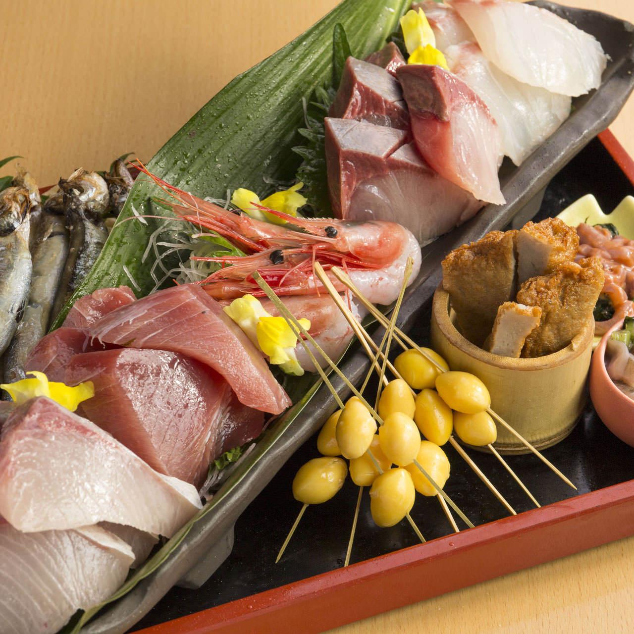 【個室確約】お席2.5H+100分飲み放題付!まぐろのほほ肉煮付け含む全8品『本鮪と天麩羅コース』5,000円