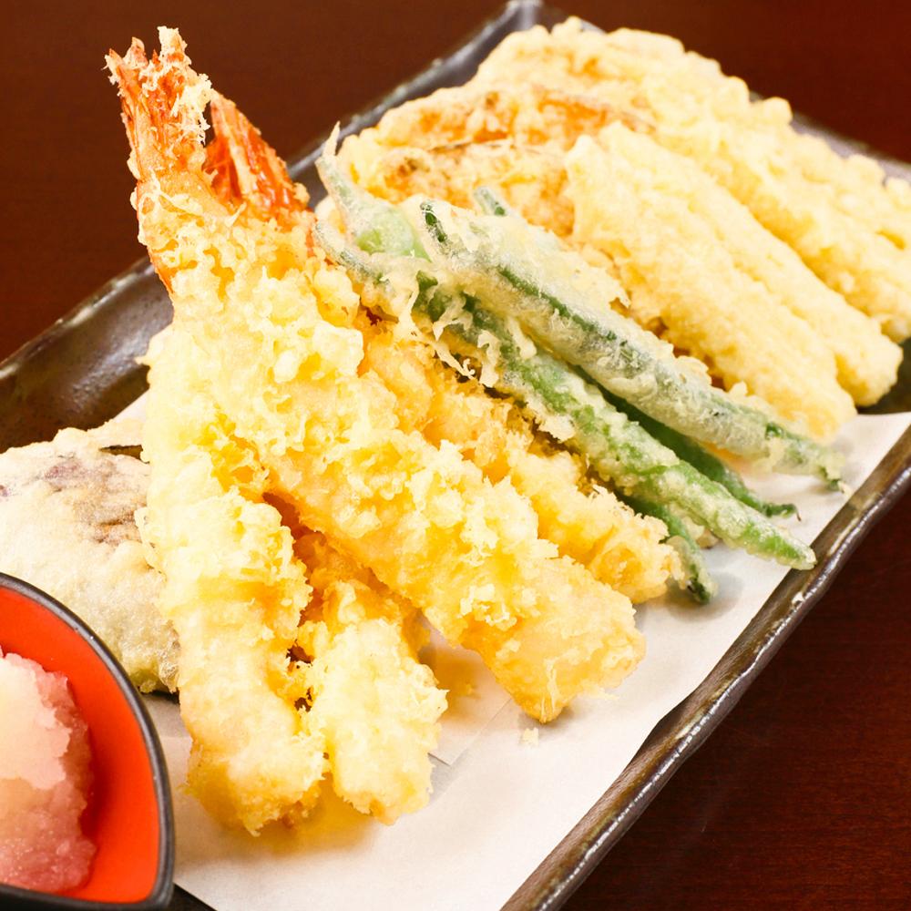 大海老と夏野菜の天婦羅盛り五種