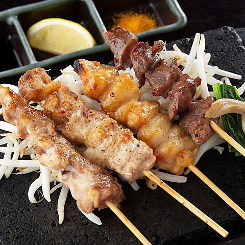桜島鶏の炭火炙り 四種盛り合わせ