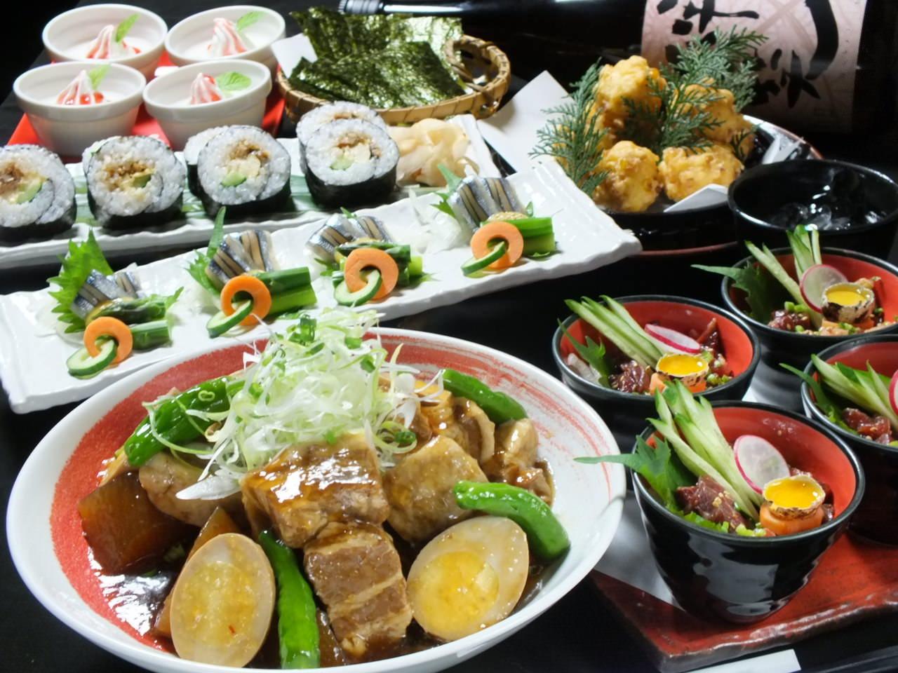 【8月限定】2時間飲み放題付夏野菜と豚バラ肉蒸篭蒸含む全7品『九州巡りコース』