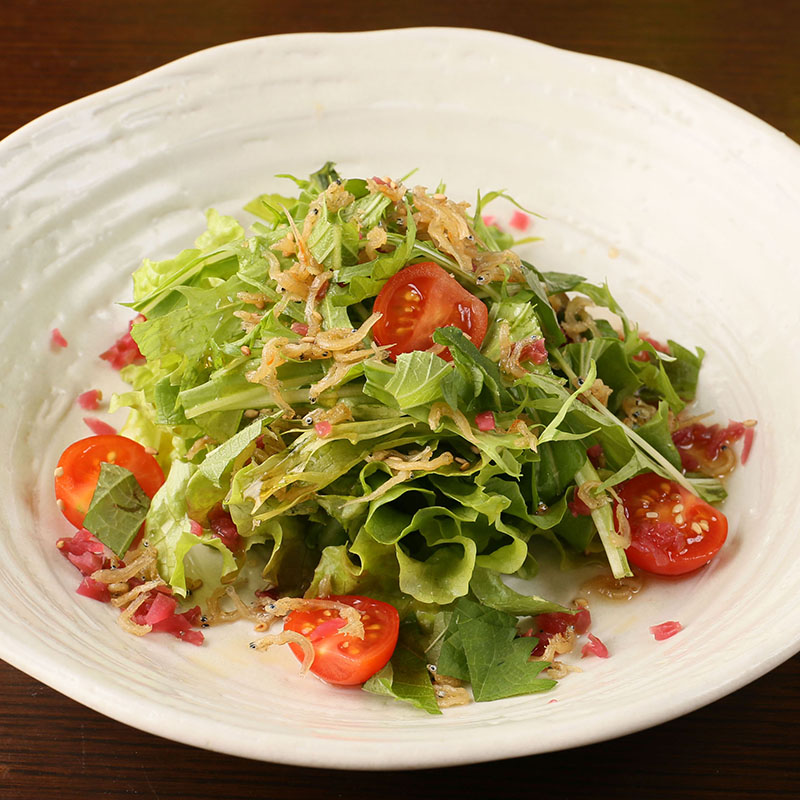 カリカリジャコと水菜の梅紫蘇サラダ