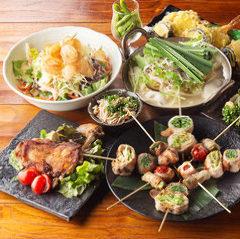 【3・4月宴会】博多野菜巻き串七種・馬刺し・餃子3種コース2時間飲み放題付き全8品