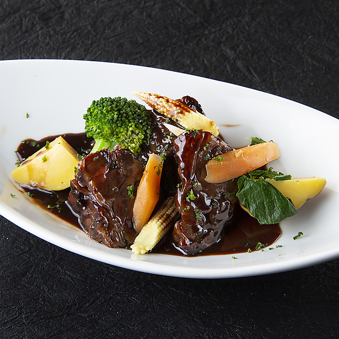 Beef shank stew in red wine