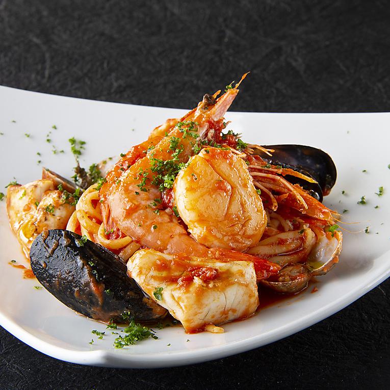 Mediterranean style seafood pasta