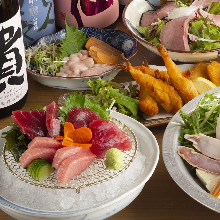 【3・4月】マグロお造り2種食べ比べと春の味覚コース日本酒利き酒80銘柄飲放題付全8品
