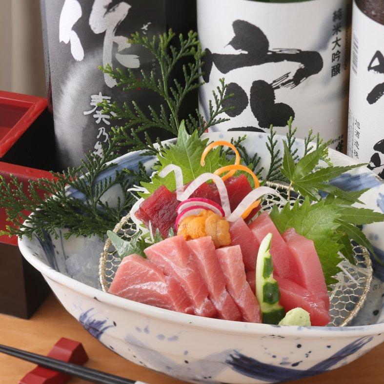 【3・4月】マグロお造りと春の旬菜コース日本酒80種利き酒90分飲み放題付!全8品