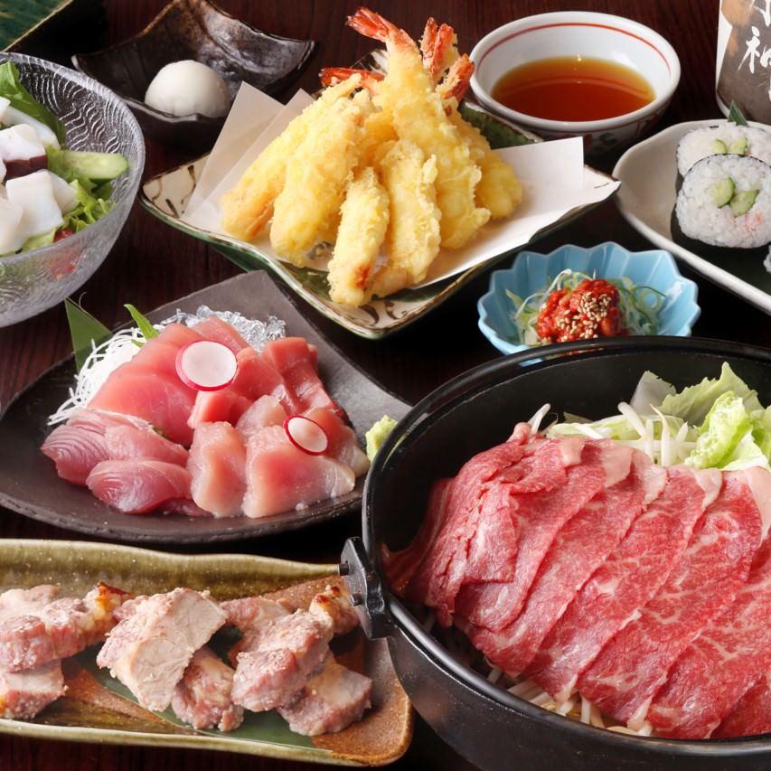 【12月限定】~GOTOEAT開催特別プラン~9品本マグロ入り鮪のお造り食べ比べと黒毛和牛のすき焼きコース