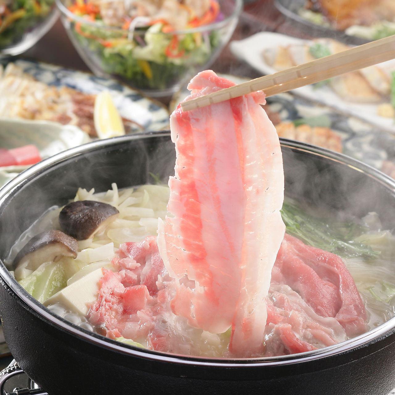 【12月限定】~GOTOEAT開催特別プラン~8品三河もち豚のしゃぶしゃぶと鮪のお刺身2種盛りコース