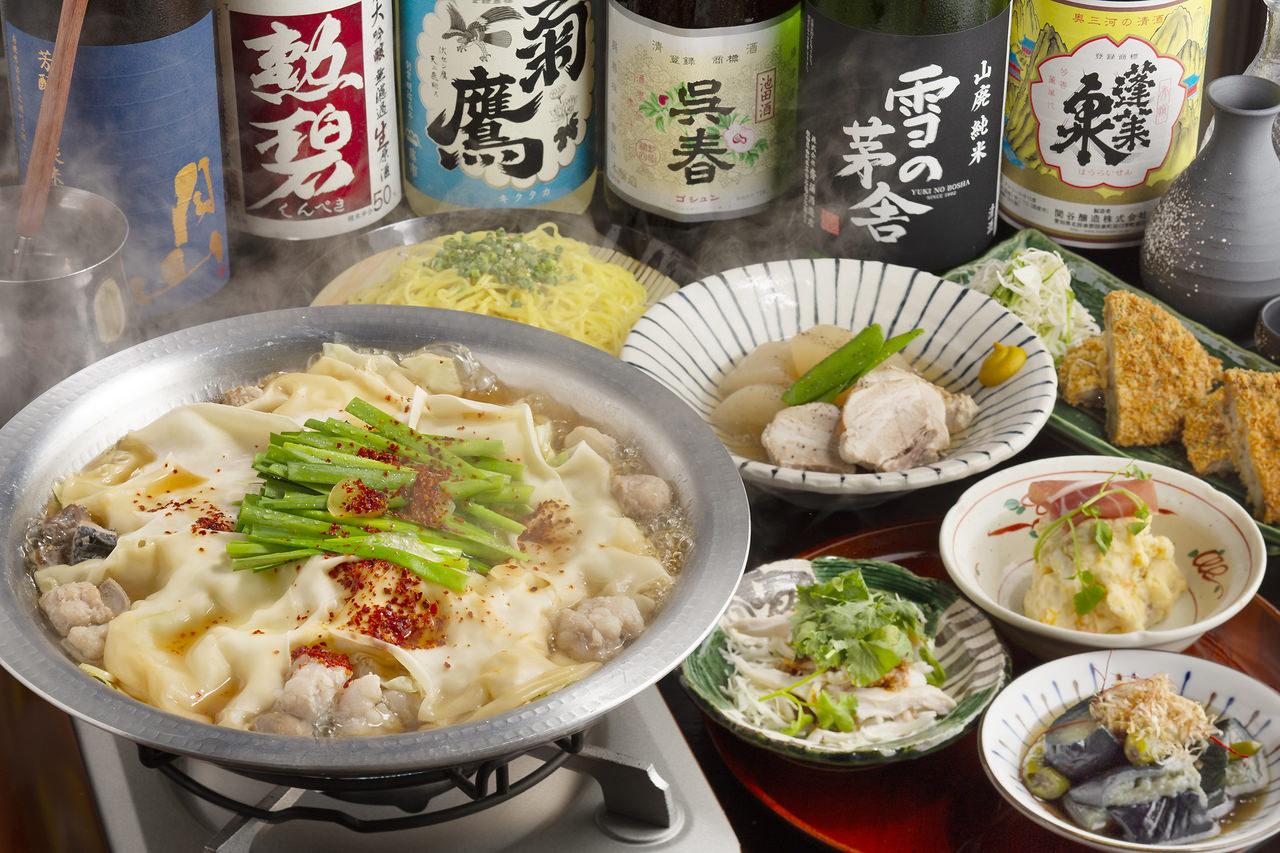 【11,12月】日本酒20種含む2H飲み放題付ニラらーめん含む全7品『せきやの山麓牛モツ鍋コース』