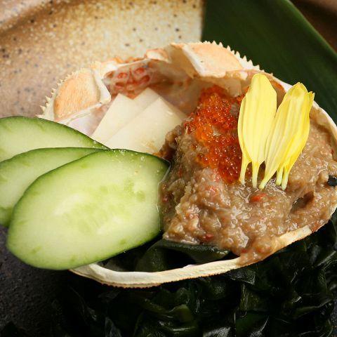 ズワイガ蟹の甲羅味噌焼き