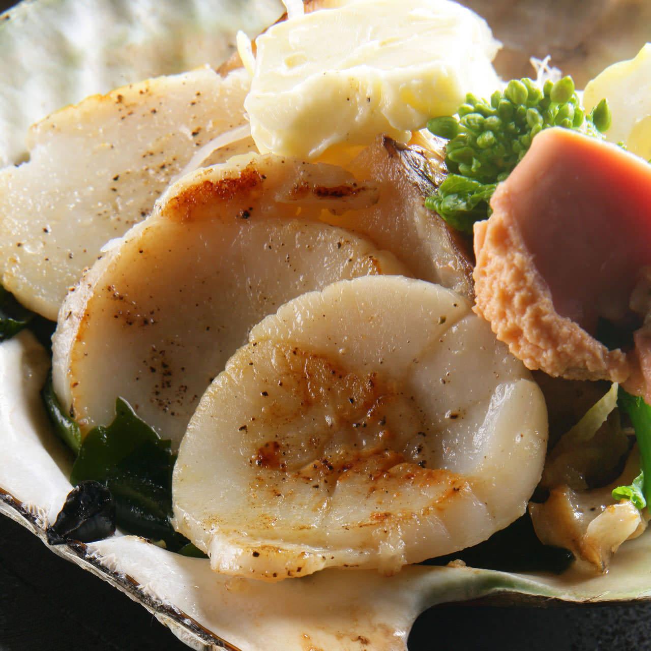 北海道帆立のバター醤油焼き