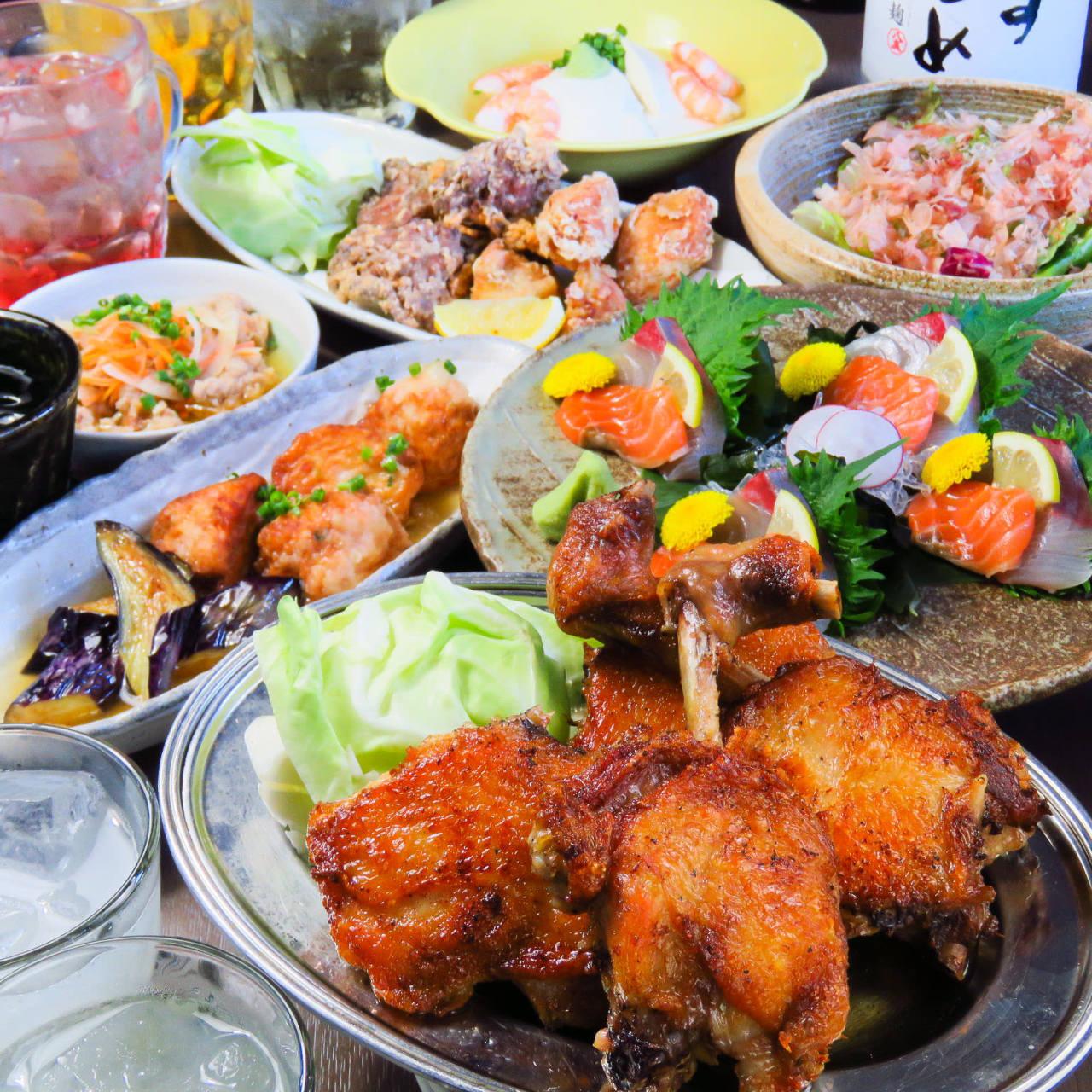 【7.8月限定】2時間飲み放題付全8品『香川名物 ふもと赤鶏のもも焼きコース』5000円⇒4500円 飲み会,宴会に◎