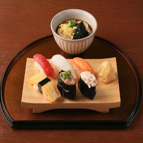 おまかせ寿司6貫盛り合わせ 冷ミニうどんセット