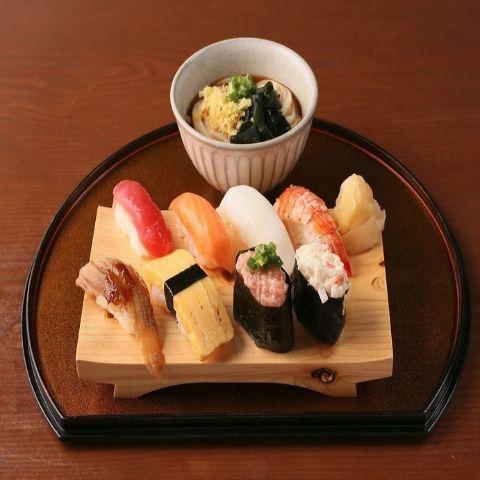 おまかせ寿司8貫盛り合わせ 冷ミニうどんセット
