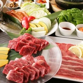 《お料理のみ》黒毛和牛カルビの盛り合わせや尾張牛ザブトン含む全13品『極上コース』5,000円